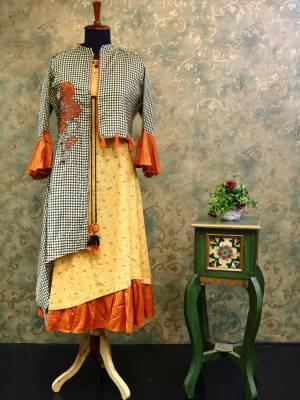 Light Carrot Cotton Designer Kurti