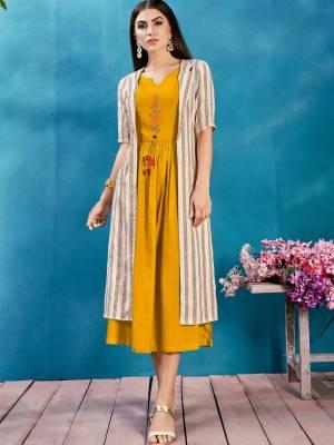 Musturd Yellow Readymade Designer Kurti