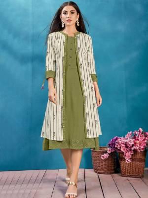 Olive Green Readymade Designer Kurti
