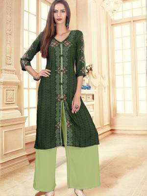 Dark Green Readymade Kurti With Plazzo