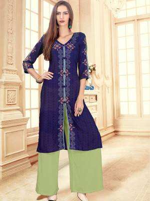 Royal Blue Readymade Kurti With Plazzo