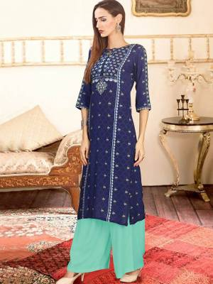 Blue Readymade Kurti With Plazzo