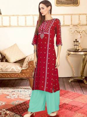 Red Readymade Kurti With Plazzo