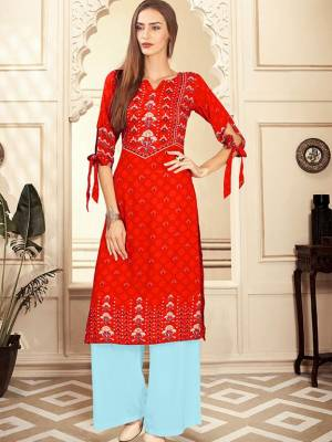 Orange Readymade Kurti With Plazzo