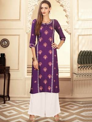 Purple Readymade Kurti With Plazzo