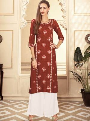 Rust Brown Readymade Kurti With Plazzo