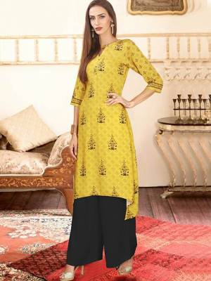 Yellow Readymade Kurti With Plazzo