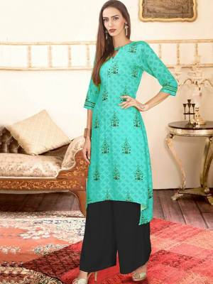 Turquoise Blue Readymade Kurti With Plazzo