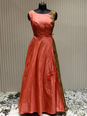 Dark Peach Readymade Designer Dress