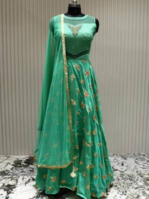 Sea Green Readymade Designer Dress