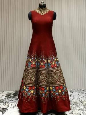 Maroon Readymade Designer Dress