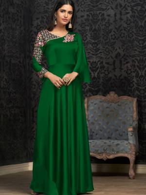 Green Satin Silk Designer Gown
