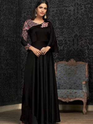 Black Satin Silk Designer Gown