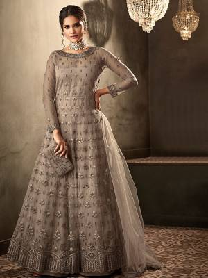 Dark Grey Readymade Dress Made With Khat Hand Work