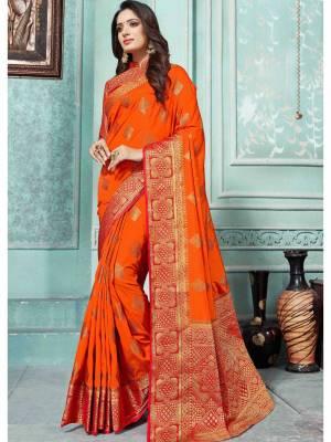 Dark Orange Art Silk Saree