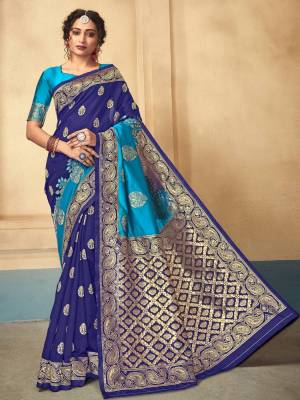 Blue Lichi kota Silk Saree