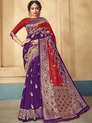 Purple Lichi kota Silk Saree
