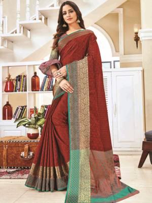 Maroon Jacquard Silk Saree