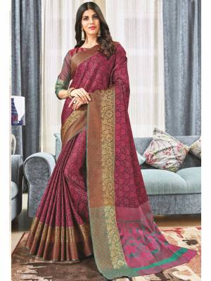 Dark Pink Jacquard Silk Saree