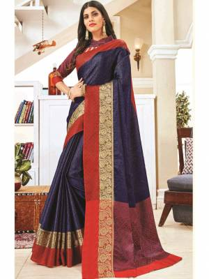 Navy Blue Jacquard Silk Saree