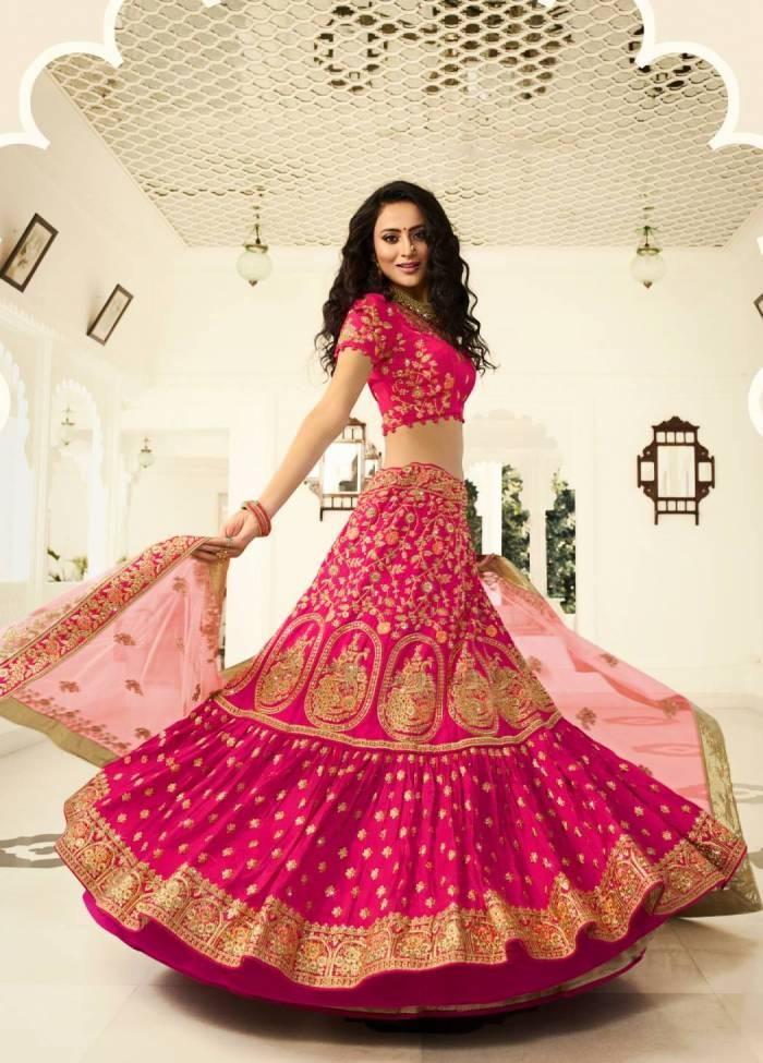 Rani Pink Silk Designer Bridal Lehenga Choli Shayona Pink silk lehenga choli indian bridal wedding wear lengha chunri lehanga dress. rani pink silk designer bridal lehenga