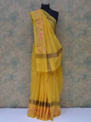 Yellow Colored Art Silk Traditional Saree With Resham Border And  Golden Pallu.