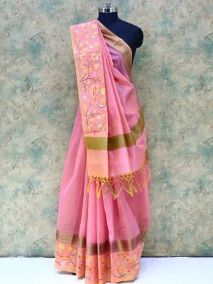 Carrot Pink Colored Art Silk Traditional Saree With Resham Border And Golden Pallu