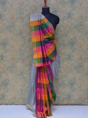 Grey Colored Art Silk Traditional Saree With Golden Border And Chex Pallu