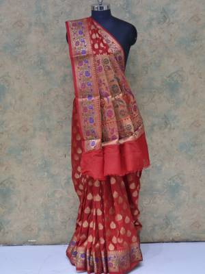 Red Colored Art Silk Traditional Saree With Floral Golden Border And Minakari Pallu