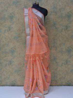 Peach Colored Art Silk Traditional Saree With Silver Border And Pallu.