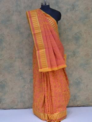 Carrot Pink Colored Art Silk Traditional Saree With Zari Border And Resham weaving Pallu