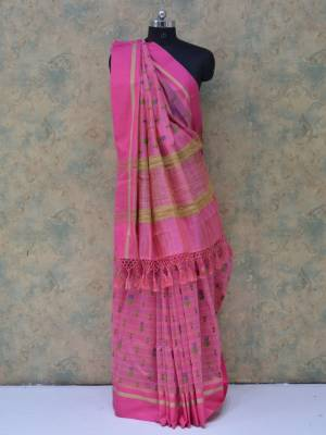Pink Colored Art Silk Traditional Saree With Golden Border And Pallu.