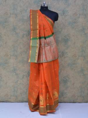 Orange Colored Art Silk Traditional Saree With Resham And Golden Border And Butti Pallu
