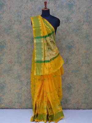 Yellow Colored Art Silk Traditional Saree With Resham And Golden Border And Pallu