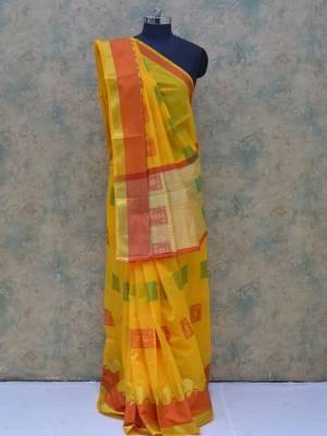 Yellow Colored Art Silk Traditional Saree With Golden And Resham Border And Resham Pallu.