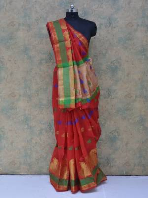 Red Colored Art Silk Traditional Saree With Resham Border And  Butta Pallu