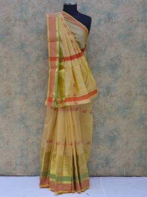 Cream Colored Art Silk Traditional Saree With Golden And Resham Skirt Border And Resham Pallu.