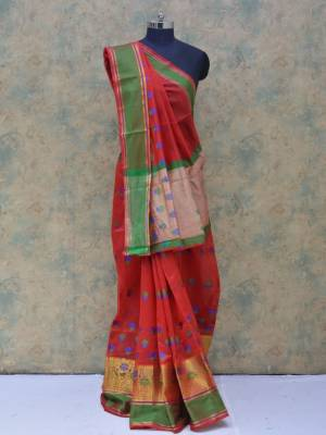 Red Colored Art Silk Traditional Saree With Golden And Resham Border And Resham Pallu.
