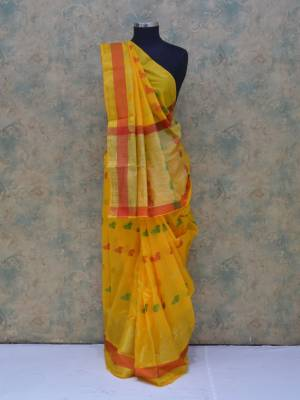 Yellow Colored Art Silk Traditional Saree With  Golden Border And Butti Pallu