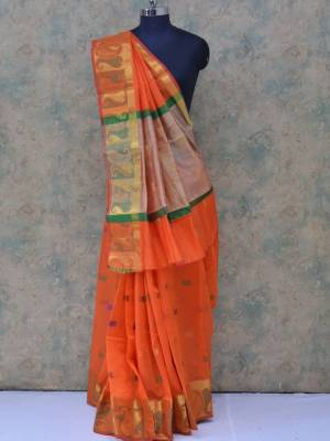 Orange Colored Art Silk Traditional Saree With  Golden Border And Pallu