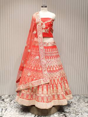 Red Raw Silk Designer All Over Floral Embroidered Lehenga With Net Dupatta