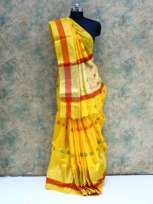 Yellow Colored Art Silk Traditional Saree With Golden Border And Pallu