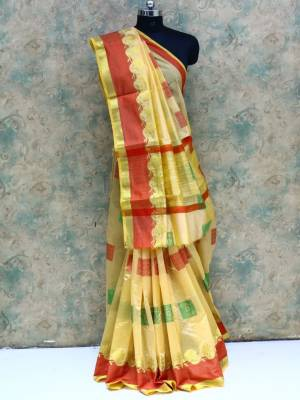 Cream Colored Art Silk Traditional Saree With  Golden And Resham Border And Pallu.