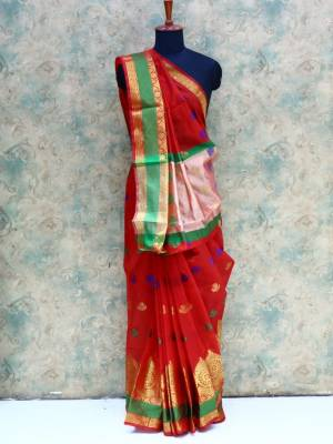 Red Colored Art Silk Traditional Saree With Resham And Zari Border And Pallu