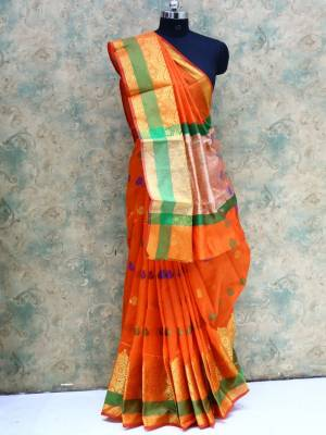 Orange Colored Art Silk Traditional Saree With Resham And Zari Border And Pallu