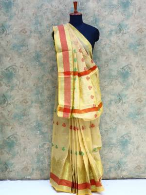 Cream Colored Art Silk Traditional Saree With Resham Golden Border And Pallu