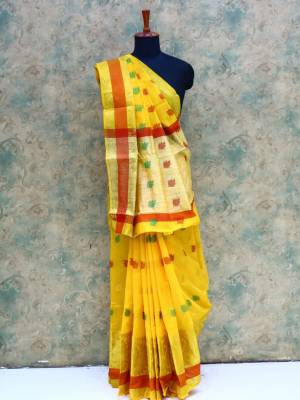 Yellow Colored Art Silk Traditional Saree With Golden And Resham Border And Pallu.