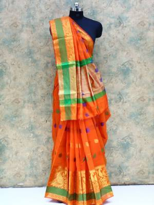 Orange Colored Art Silk Traditional Saree With Golden Border And Pallu