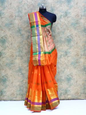 Orange Colored Art Silk Traditional Saree With Resham Border And Pallu